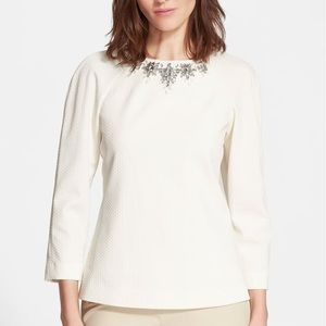 Tops - TED BAKER Textured Embellished Top XXS